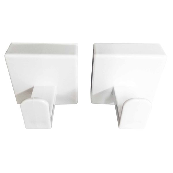 Set of 2 Square Towel Hooks Holder SALI Adhesive or to Be Fixed White