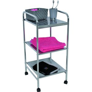 Bathroom Storage Rolling Cart 3 Shelves Metal Chrome