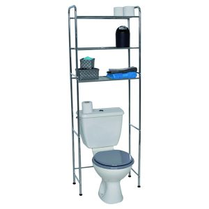 Over the Toilet Space Saver Cabinet Metal 3 Tier Wire Shelves Chrome