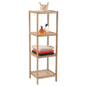 Bathroom Multi-Use Shelving Unit Tower 4 Shelves Ecobio- Bamboo