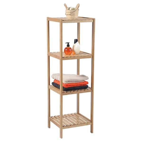 Bathroom Multi-Use Shelving Unit Tower 4 Shelves Ecobio- Bamboo