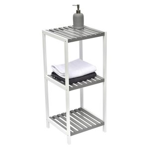 Bathroom Multi-Use Shelving Unit 3 Shelves Modern D- White and Grey