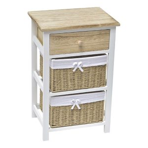 2 Baskets - 1 Drawer Storage Unit Wood - White/Natural