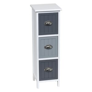3 Drawers Storage Unit Wood -Metal Handles- White/Dark Grey/Grey