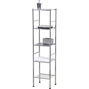 Bathroom 4 Tier Tower Shelf Free Standing Chrome Metal