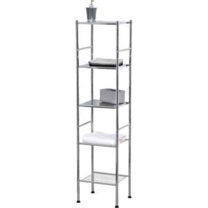 Bathroom 4 Tier Tower Shelf Free Standing Chrome Metal