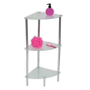 3 Tier Bathroom Glass Corner Shelf Tower Chrome