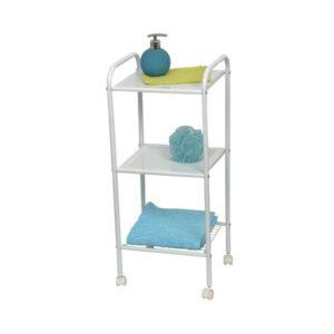 Bathroom Storage Rolling Cart 3 Shelves Metal White