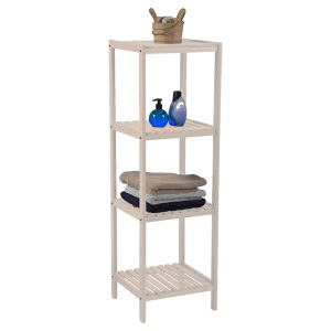 Bathroom Multi-Use Shelving Unit Tower 4 Shelves- Pine White