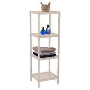 Bathroom Multi-Use Shelving Unit Tower 4 Shelves- Pine White