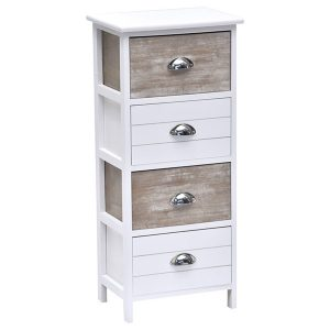4 Drawers Storage Unit Wood -Metal Handles- White/Washed Brown