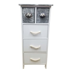 5 Drawers Storage Unit Wood -Metal and Rope Handles- White/Washed Grey