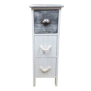 3 Drawers Storage Unit Wood -Metal and Rope Handles- White/Washed Grey
