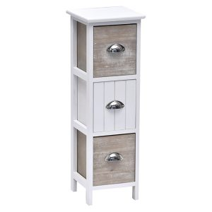 3 Drawers Storage Unit Wood -Metal Handles- White/Washed Brown