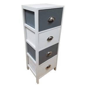 4 Drawers Storage Unit Wood -Metal Handles- White/Dark Grey