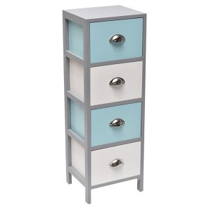 4 Drawers Storage Unit Wood -Metal Handles- White/Grey/Turquoise Blue