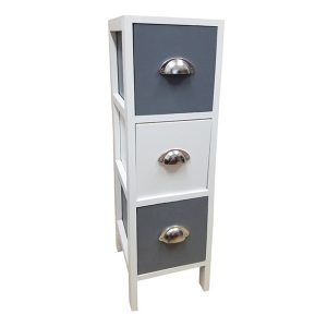 3 Drawers Storage Unit Wood -Metal Handles- White/Dark Grey