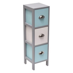 3 Drawers Storage Unit Wood -Metal Handles- White/Grey/Turquoise Blue