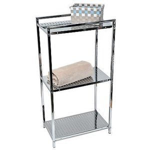 Metal Square Tube Storage Floor Cabinet Tower 3-tier Chrome