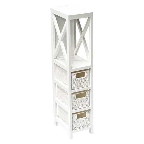 3 Baskets -1 Shelf Storage Unit Wood - Weaved Paper Rope- White