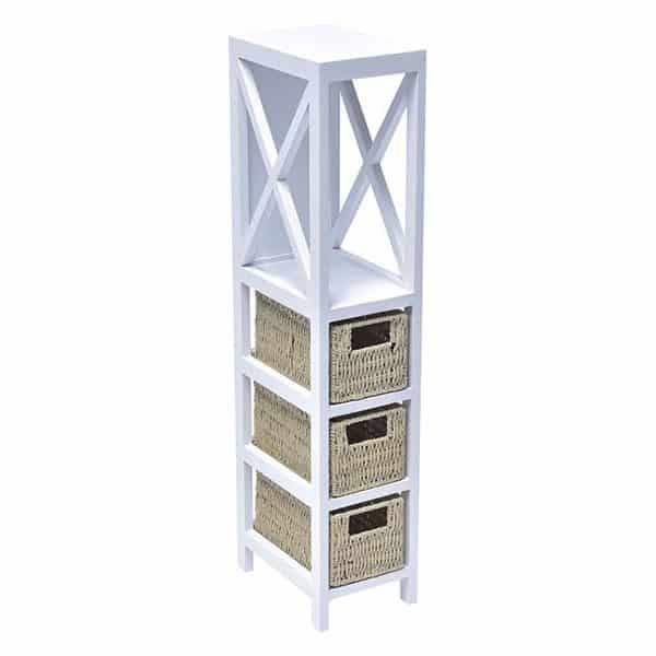 3 Baskets -1 Shelf Storage Unit Wood - Weaved Paper Rope- White/Natural Wood