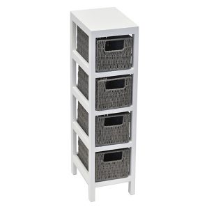 4 Baskets Storage Unit Wood - Weaved Paper Rope- White/Grey