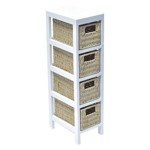4 Baskets Storage Unit Wood - Weaved Paper Rope- White/Natural Wood