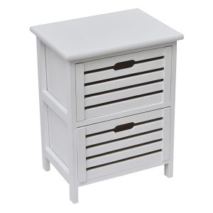 Small Side Table Nightstand End Table Coffee Table with Handles -2 drawers-White