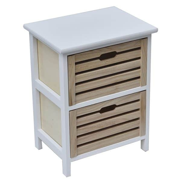 Small Side Table Nightstand End Table Coffee Table with Handles -2 drawers-White/Natural