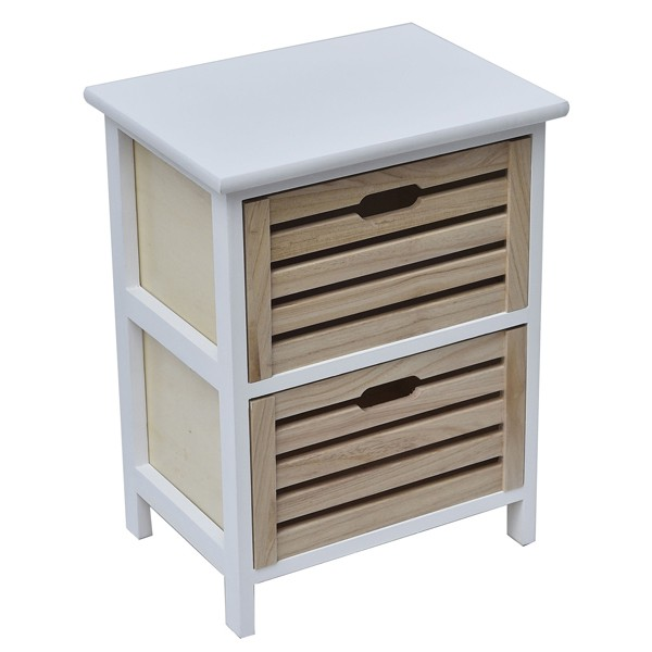 Small Side Table Nightstand End Coffee With Handles 2 Drawers White Natural