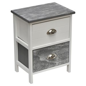 Small Side Table Nightstand End Table Coffee Table with Metal Handles -2 drawers-White/Washed Grey
