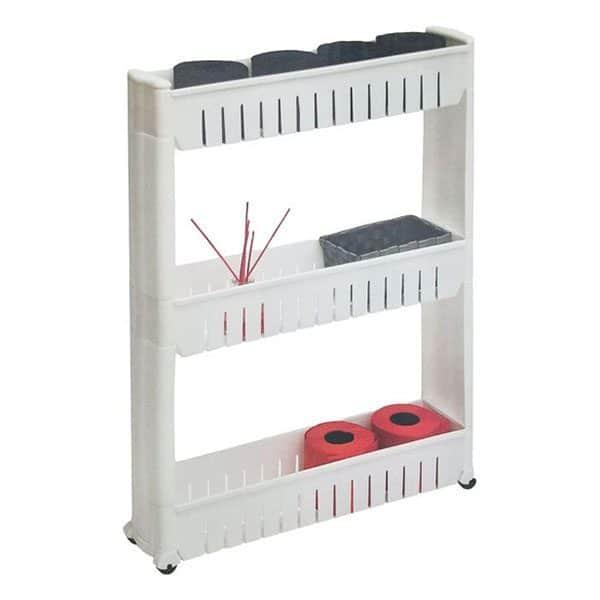 3 Tier Slim Rolling Multi Purpose Utility Cart Kitchen-Bathroom White