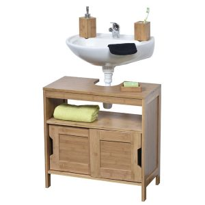 Freestanding Non Pedestal Under Sink Vanity Cabinet Bath Storage Wood, Mahe
