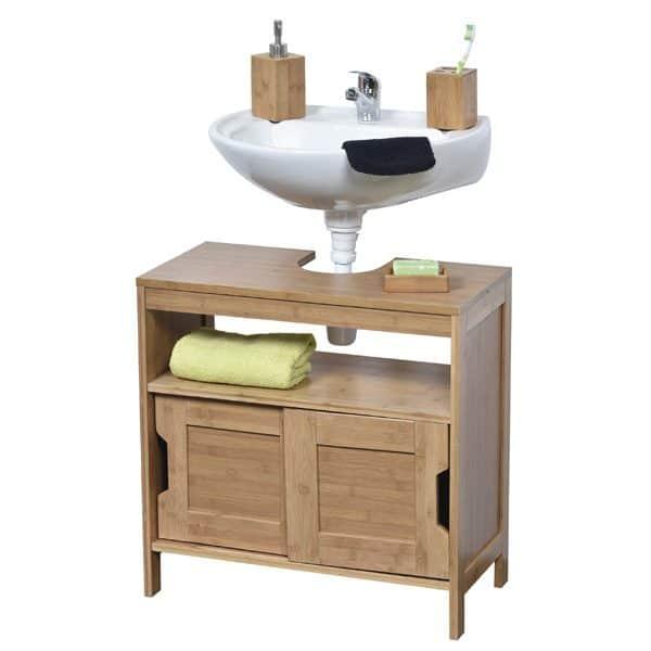 Freestanding Non Pedestal Under Sink Vanity Cabinet Bath Storage Wood, Mahe