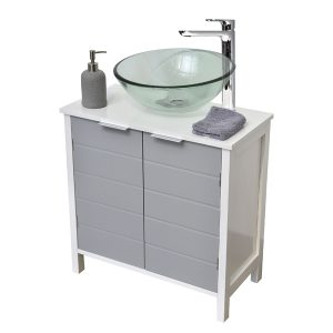 Non Pedestal Under Sink Storage Vanity Cabinet-Modern D- White and Grey
