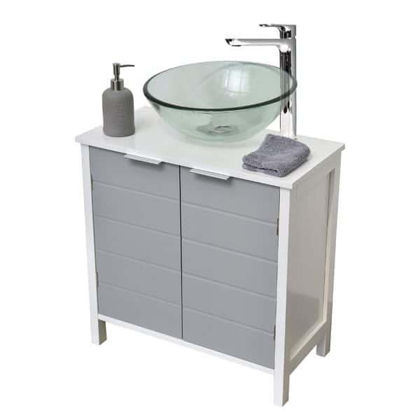 Non Pedestal Under Sink Storage Vanity Cabinet-Modern D- White and Grey
