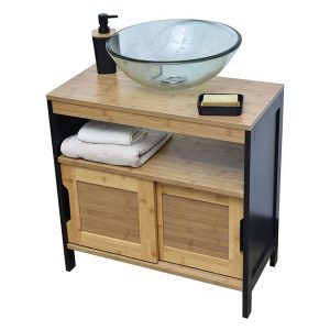 Non Pedestal Under Sink Storage Vanity Cabinet Phuket Bamboo and Black