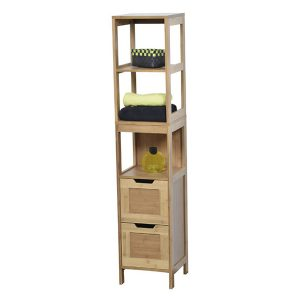 Collection Mahe Bathroom Free Standing Linen Tower Shelf 2 Drawers