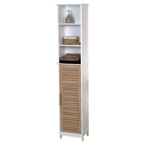 Free standing Bath Linen Tower Cabinet Stockholm Wood Brown