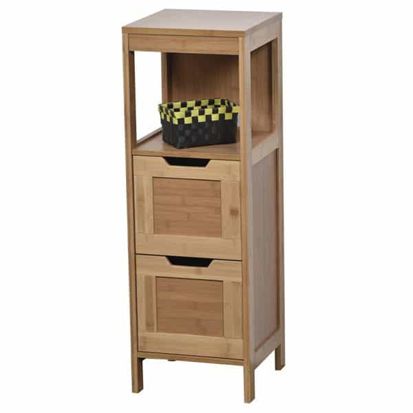 Freestanding Bath Storage Floor Cabinet MAHE 2 Drawers 2 Shelves Bamboo