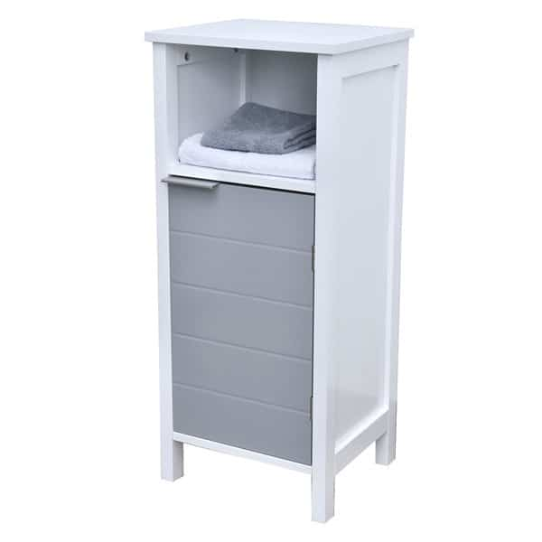 Freestanding Bathroom Floor Storage Cabinet 1 Door With Shelves Modern D White And Grey