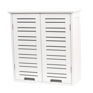 "Wall Mounted Bath Cabinet Miami Wood White Finish 20.5""L X 21.7""H"