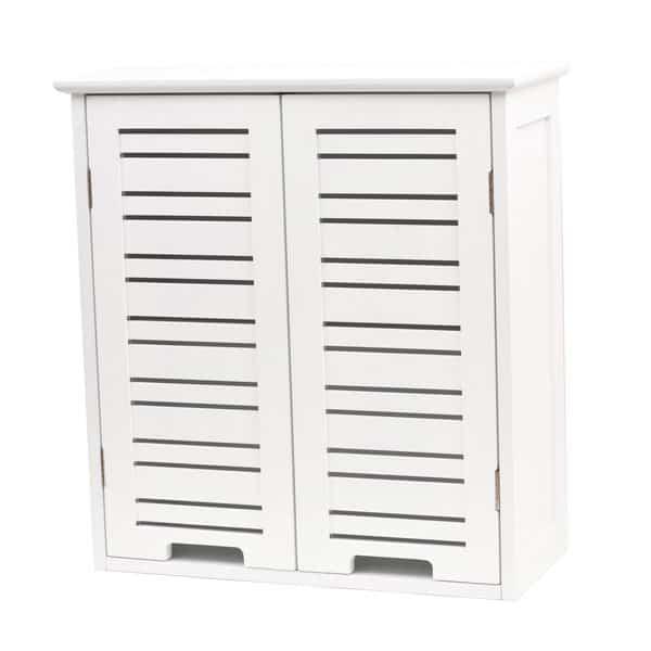 "Wall Mounted Bath Cabinet Miami Wood White Finish 20.5""L X 21.7""H"