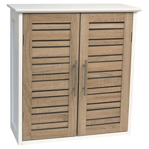"Wall Mounted Bath Cabinet Stockholm 2 Doors Wood Oak-color 20.5""l X 21.7""h"