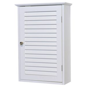 "Florence Wall Mounted Cabinet Louvered Door White 15.7""W x 24.2""H"