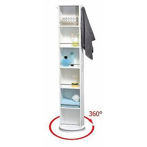Swivel Storage Cabinet Organizer Tower White Free standing linen tower Mirror