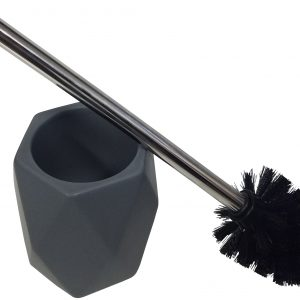 Collection Diamond Bathroom Toilet Bowl Brush and Holder Stoneware Grey