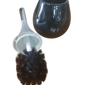 Bathroom Free Standing Toilet Bowl Brush and Holder Water Drop Black