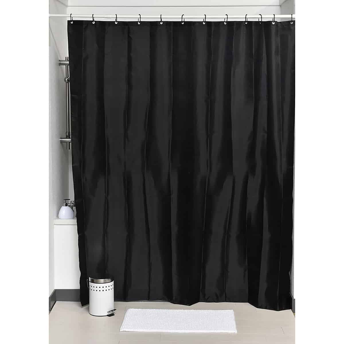 Evideco Design S Fabric Polyester Shower Curtain With 12 Matching Rings Black