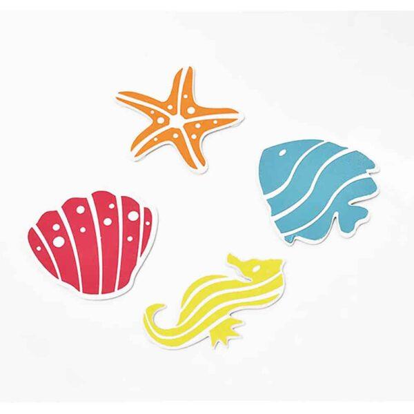 Childish Non Slippery Bathtub Treads Fish/Starfish/Sea Horse/Shelfish, Set of 4